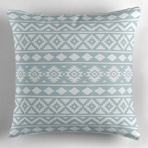 Aztec Ess3 Wt on Blue Pillow