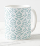 Feuille Damask Blue on Wt Mug