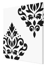 Scroll Damask Art I BW Canvas Art