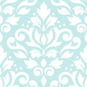 scroll damask lg ptn white on lt blue