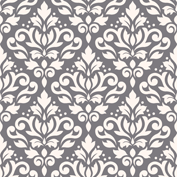 Scroll Damask Ptn Cream on Grey