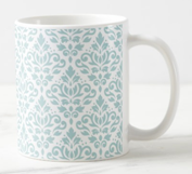 Scroll Damask Mug Blue & White