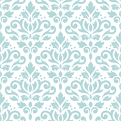 Scroll Damask Ptn Blue on White