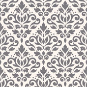 Scroll Damask Ptn Grey on Cream