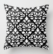 Scroll damask Ptn BW Pillow