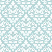 Scroll Damask Ptn White on Blue
