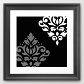 framed scroll damask art i mono