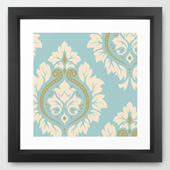 framed damask art